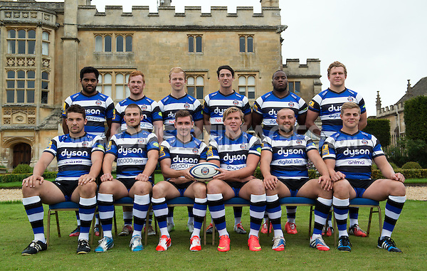 Bath Rugby Academy players pose for a portrait at a Bath Rugby photocall. Bath Rugby Media Day on August 28, 2014 at Farleigh House in Bath, England. Photo by: Patrick Khachfe / Onside Images