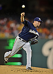 21 September 2012: Milwaukee Brewers pitcher Shaun Marcum on the mound against the Washington Nationals at Nationals Park in Washington, DC. The Brewers rallied in the 9th inning to defeat the Nationals 4-2 in the first game of their 4-game series. Mandatory Credit: Ed Wolfstein Photo