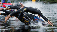 04 JUL 2010 - ATHLONE, IRL - Competitors dive into the water at the start of the European Elite Mens Triathlon Championships .(PHOTO (C) NIGEL FARROW)