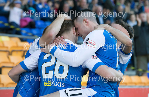 St Johnstone v Hibs &hellip;09.09.17&hellip; McDiarmid Park&hellip; SPFL<br />Michael O&rsquo;Halloran celebrates his goal with provider Liam Craig<br />Picture by Graeme Hart.<br />Copyright Perthshire Picture Agency<br />Tel: 01738 623350  Mobile: 07990 594431