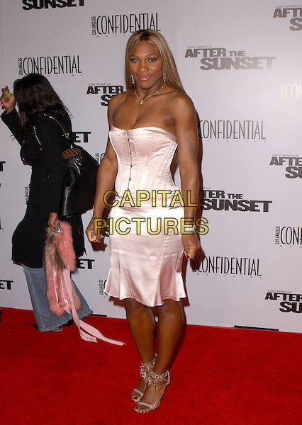 "SERENA WILLIAMS.The New Line Cinema's L.A. Premiere of ""After the Sunset"" held at The Mann's Chinese Theatre in Hollywood, California .November 4, 2004.full length, silk, satin strapless dress, corset, bustier.www.capitalpictures.com.sales@capitalpictures.com.© Capital Pictures."