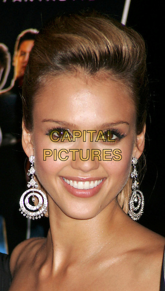 "JESSICA ALBA.""Fantastic 4"" Film Premiere held on Liberty Island in New York Harbor, NY, USA, 6 July 2005..portrait headshot silver diamond dangly circle disc earrings.Ref: ADM.www.capitalpictures.com.sales@capitalpictures.com.©Alec Cole/AdMedia/Capital Pictures."