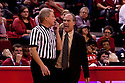 23 November 2011: head coach Doc Sadler of the Nebraska Cornhuskers voicing his opinion on a call made in the game against Oregon Ducks at the Devaney Sports Center in Lincoln, Nebraska. Oregon defeated Nebraska 83 to 76.