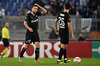 Kevins Strootman and Florian Thauvin dejection after second Lazio goal during the Uefa Europa League 2018/2019 football match between SS Lazio and Marseille at stadio Olimpico, Roma, November, 08, 2018 <br />  Foto Andrea Staccioli / Insidefoto