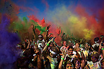 Participants get doused in color powder during the Color Run in Fort Washington, MD on Sept. 9, 2012.