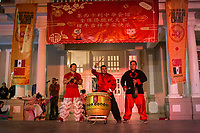 MEXICALI,  MEXICO - February 13. A group of chinese traditional martial arts and dance perform on the Chinese New Year Bicultural Celebration in  The relations between Mexico and the People's Republic of China begin at the beginning of the decade from 1910 until today, making Mexicali one of the cities with the largest Chinese population in the country. Establishing strong commercial and cultural ties with Mexico.<br /> (Photo by Luis Boza/VIEWpress)