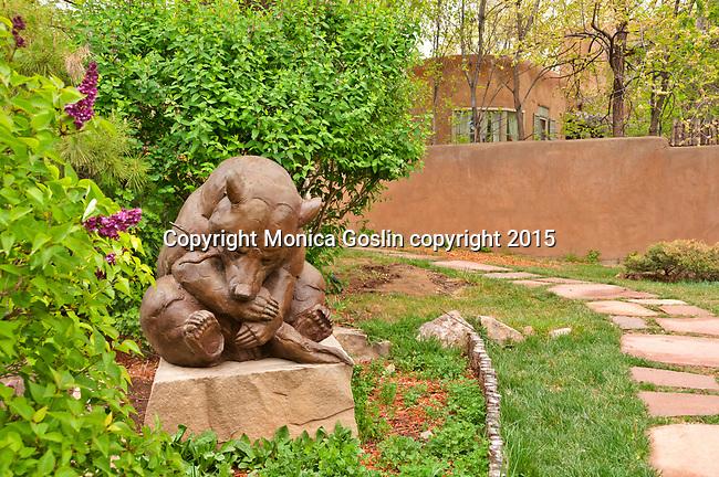 Sculpture Garden at Nedra Matteucci Gallery, bear sculpture by Dan Ostermiller; Santa Fe, New Mexico