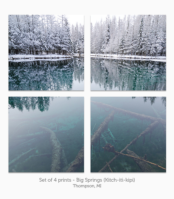 Display a print in a different way with this 4-print photo split of a winter scene at Big Springs (Kitch-iti-kipi).