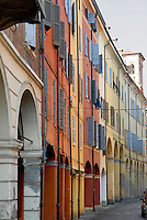 - Modena, colored houses in the ancient downtown....- Modena, case colorate nell'antico centro storico