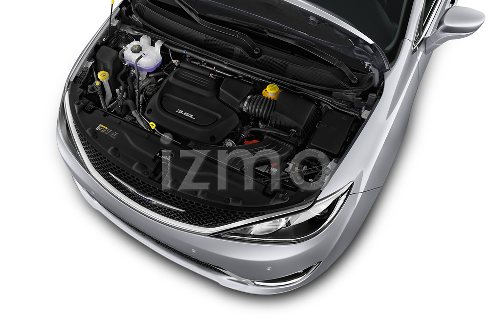 Car stock 2018 Chrysler Pacifica Touring-L Plus 5 Door Mini Van engine high angle detail view