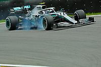 15th November 2019; Autodromo Jose Carlos Pace, Sao Paulo, Brazil; Formula One Brazil Grand Prix, Practice Day; Valtteri Bottas (FIN) Mercedes AMG F1 W10 locks up towards a corner - Editorial Use