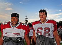 Jul 31, 2009; Flagstaff, AZ, USA; Arizona Cardinals tackles (79) Oliver Ross and (68) Elliot Vallejo during training camp on the campus of Northern Arizona University. Mandatory Credit: Mark J. Rebilas-