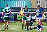 Andrew Durutalo of Ealing Trailfinders scores a try during the 2019/20 Pre Season Friendly match between Ealing Trailfinders and Bishop's Stortford at Castle Bar , West Ealing , England  on 24 August 2019. Photo by Alan  Stanford / PRiME Media images