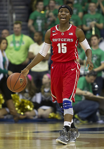 January 13, 2013:  Rutgers guard Syessence Davis (15) dribbles the ball during NCAA Basketball game action between the Notre Dame Fighting Irish and the Rutgers Scarlett Knights at Purcell Pavilion at the Joyce Center in South Bend, Indiana.  Notre Dame defeated Rutgers 71-46.