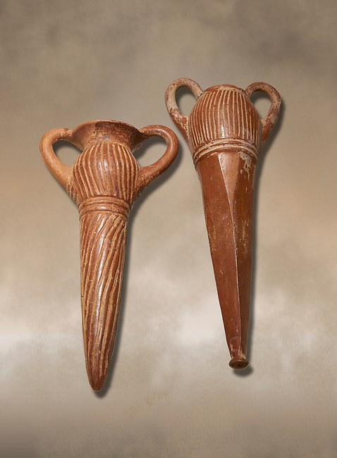 Bronze Age Anatolian terra cotta two handled beakers - 19th to 17th century BC - Kültepe Kanesh - Museum of Anatolian Civilisations, Ankara, Turkey.  Against a warn art background.