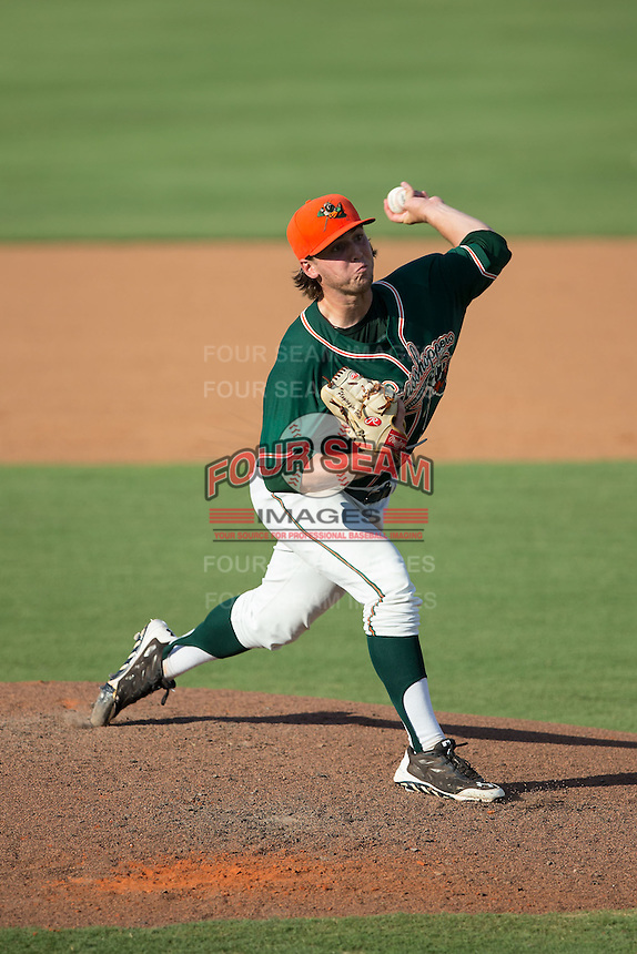 Greensboro Grasshoppers starting pitcher Michael Mader (15) delivers a pitch to the plate against the Kannapolis Intimidators at CMC-Northeast Stadium on August 2, 2015 in Kannapolis, North Carolina.  The Intimidators defeated the Grasshoppers 4-2.  (Brian Westerholt/Four Seam Images)