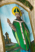 15 March 2009. London/United Kingdom. Irish celebrations in London with the traditional St Patrick's Day Parade. Painting of St Patrick. (Photo: Bettina Strenske)