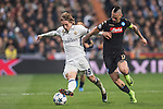 Luka Modric of Real Madrid fights for the ball with Marek Hamsik of SSC Napoli Real Madrid vs Napoli, part of the 2016-17 UEFA Champions League Round of 16 at the Santiago Bernabeu Stadium on 15 February 2017 in Madrid, Spain. Photo by Diego Gonzalez Souto / Power Sport Images