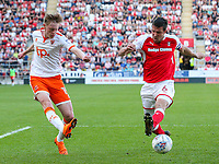 Rotherham United's Richard Wood tries to block the cross of Blackpool's Sean Longstaff<br /> <br /> Photographer Alex Dodd/CameraSport<br /> <br /> The EFL Sky Bet League One - Rotherham United v Blackpool - Saturday 5th May 2018 - New York Stadium - Rotherham<br /> <br /> World Copyright &copy; 2018 CameraSport. All rights reserved. 43 Linden Ave. Countesthorpe. Leicester. England. LE8 5PG - Tel: +44 (0) 116 277 4147 - admin@camerasport.com - www.camerasport.com