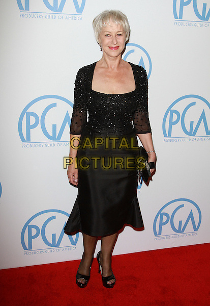 DAME HELEN MIRREN .22nd Annual Producers Guild Awards held At The Beverly Hilton Hotel, Beverly Hills, CA, USA, 22nd January 2011..full length black dress beaded sleeves clutch bag tights open toe shoes shrug .CAP/ADM/KB.©Kevan Brooks/AdMedia/Capital Pictures.