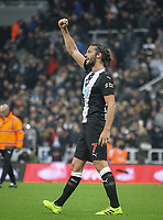 Andy Carroll of Newcastle United celebrates at full time during the Premier League match between Newcastle United and Manchester United at St. James's Park, Newcastle, England on 6 October 2019. Photo by J GILL / PRiME Media Images.