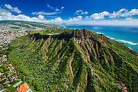 An aerial view of Diamond Head looking very green after a rainstorm on O'ahu.