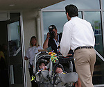 26 August 2007: Nomar Garciaparra, husband of 2007 inductee Mia Hamm (not pictured), pushes their twin girls Grace and Ava into the Hall of Fame. The National Soccer Hall of Fame Induction Ceremony was held at the National Soccer Hall of Fame in Oneonta, New York.