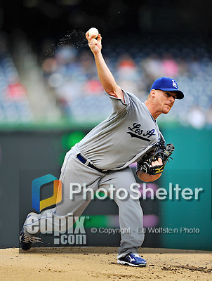 8 September 2011: Los Angeles Dodgers pitcher Chad Billingsley on the mound against the Washington Nationals at Nationals Park in Washington, DC. The Dodgers defeated the Nationals 7-4 to take the third game of their 4-game series. Mandatory Credit: Ed Wolfstein Photo