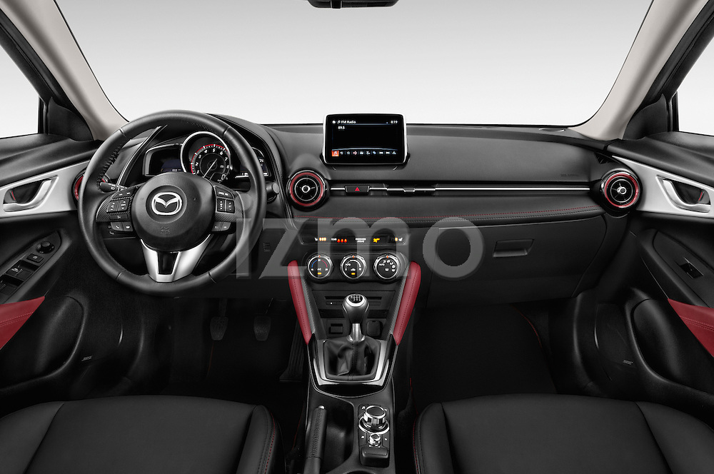 Stock photo of straight dashboard view of 2017 Mazda CX-3 Grand-Touring 5 Door SUV Dashboard
