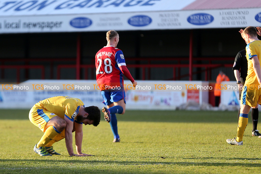 Jake Sheppard of Dagenham celebrates scoring the opening goal during Dagenham & Redbridge vs Chester, Vanarama National League Football at the Chigwell Construction Stadium on 4th February 2017