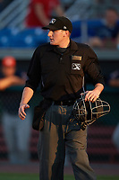 Home plate umpire Evin Johnson during a Connecticut Tigers game against the Auburn Doubledays on August 8, 2017 at Falcon Park in Auburn, New York.  Auburn defeated Connecticut 7-4.  (Mike Janes/Four Seam Images)