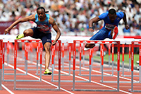 Shane Brathwaite of Barbados and Aries Merritt of USA compete in the menís 110 metres hurdles during the Muller Anniversary Games at The London Stadium on 9th July 2017