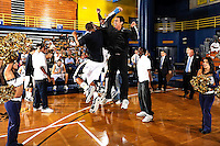14 November 2008:  FIU players go through their pre-game rituals during player introductions prior to the FIU 57-54 victory over Eastern Kentucky at FIU Arena in Miami, Florida.