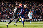Ivan Rakitic of FC Barcelona (R) in action against Goalkeeper Ruben Blanco Veiga of RC Celta de Vigo (L) during the La Liga 2017-18 match between FC Barcelona and RC Celta de Vigo at Camp Nou Stadium on 02 December 2017 in Barcelona, Spain. Photo by Vicens Gimenez / Power Sport Images