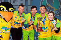 The Hawks celebrate winning the Bowls Premier League final between the Gold Coast Hawks and Brisbane Pirates at Naenae Bowling Club in Wellington, New Zealand on Thursday, 26 April 2018. Photo: Dave Lintott / lintottphoto.co.nz