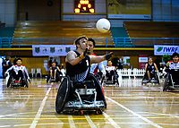 Cameron Leslie scores during the 2017 International Wheelchair Rugby Federation Asia-Oceania Zone Championships tournament match between the New Zealand Wheel Blacks and Japan at ASB Stadium in Auckland, New Zealand on Thursday, 31 August 2017. Photo: Dave Lintott / lintottphoto.co.nz