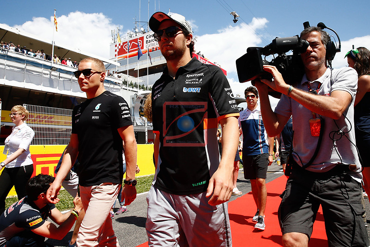 Spanish F1 Grand Prix Pirelli 2017.<br /> Valteri Bottas (Mercedes) &amp; Sergio Perez (Force India).