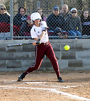 Westside Eagle Observer/RANDY MOLL<br /> Lynzey Sikes, of Gentry, takes a cut at a pitch during play against Siloam Springs on Thursday (March 1, 2018) at Gentry High School.