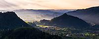 Misty sunrise landscape. View from Osojnica Hill at Lake Bled towards Radovljica, Gorenjska Region, Slovenia, Europe