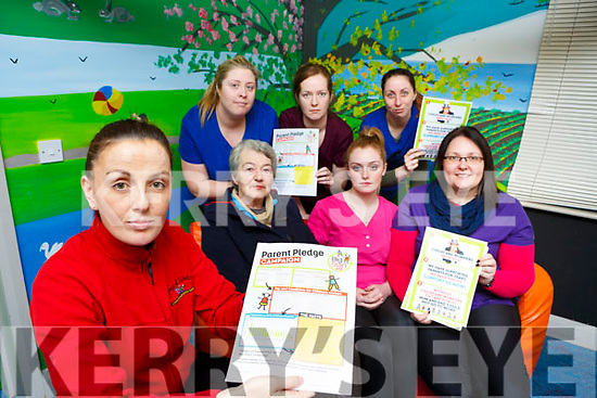 Elaine O'Sullivan and her fellow Childcare workers who are looking for better pay and conditions front l-r:  Breda Sparling-O'Riordan, Jennifer McCarthy, Theresa O'Neill. Back row: Ciara Devane, Ann Marie O'Connell and Jacqui O'Reilly