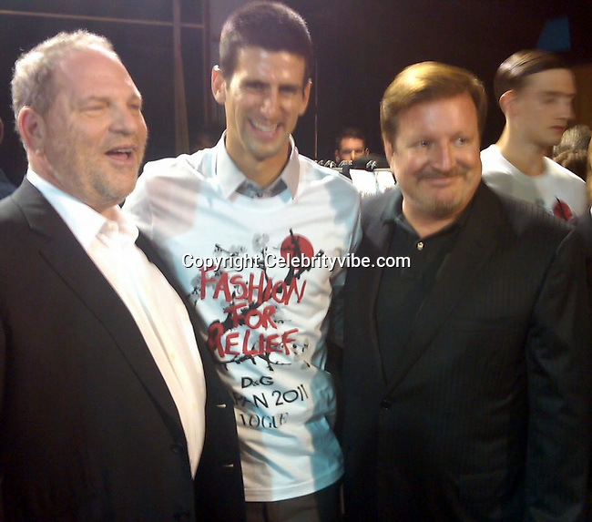 Harvey Weinstein, Novak Djokovic and Ron Burkle..Fashion For Relief Japan Fundraiser Hosted by Naomi Campbell..2011 Cannes Film Festival..Cannes Center..Cannes, France..Monday, May 16, 2011..Photo By CelebrityVibe.com..To license this image please call (212) 410 5354; or.Email: CelebrityVibe@gmail.com ;.website: www.CelebrityVibe.com