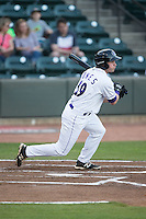 Hunter Jones (29) of the Winston-Salem Dash follows through on his swing against the Myrtle Beach Pelicans at BB&T Ballpark on April 18, 2016 in Winston-Salem, North Carolina.  The Pelicans defeated the Dash 6-4.  (Brian Westerholt/Four Seam Images)