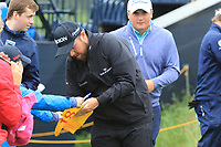 Shane Lowry (IRL) signing autographs on the 13th during the preview of the the 148th Open Championship, Portrush golf club, Portrush, Antrim, Northern Ireland. 17/07/2019.<br /> Picture Thos Caffrey / Golffile.ie<br /> <br /> All photo usage must carry mandatory copyright credit (© Golffile | Thos Caffrey)