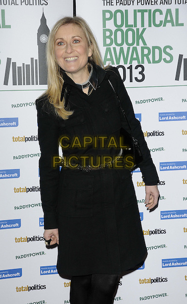 Fiona Phillips.The Paddy Power & Total Politics Political Book Awards 2013, BFI Imax, Charlie Chaplin Walk, London, England..February 6th, 2013.half length black coat belt.CAP/CAN.©Can Nguyen/Capital Pictures.