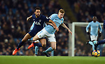 Kevin De Bruyne of Manchester City is challenged by Mousa Dembele of Tottenham Hotspur during the premier league match at the Etihad Stadium, Manchester. Picture date 16th December 2017. Picture credit should read: Robin ParkerSportimage
