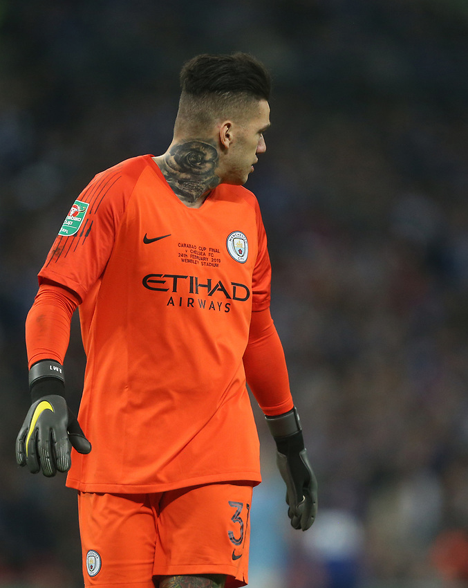Manchester City's Ederson<br /> <br /> Photographer Rob Newell/CameraSport<br /> <br /> The Carabao Cup Final - Chelsea v Manchester City - Sunday 24th February 2019 - Wembley Stadium - London<br />  <br /> World Copyright © 2018 CameraSport. All rights reserved. 43 Linden Ave. Countesthorpe. Leicester. England. LE8 5PG - Tel: +44 (0) 116 277 4147 - admin@camerasport.com - www.camerasport.com