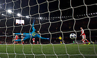 Goalkeeper David Ospina of Arsenal concedes another goal during the UEFA Champions League round of 16 match between Arsenal and Bayern Munich at the Emirates Stadium, London, England on 7 March 2017. Photo by Alan  Stanford / PRiME Media Images.