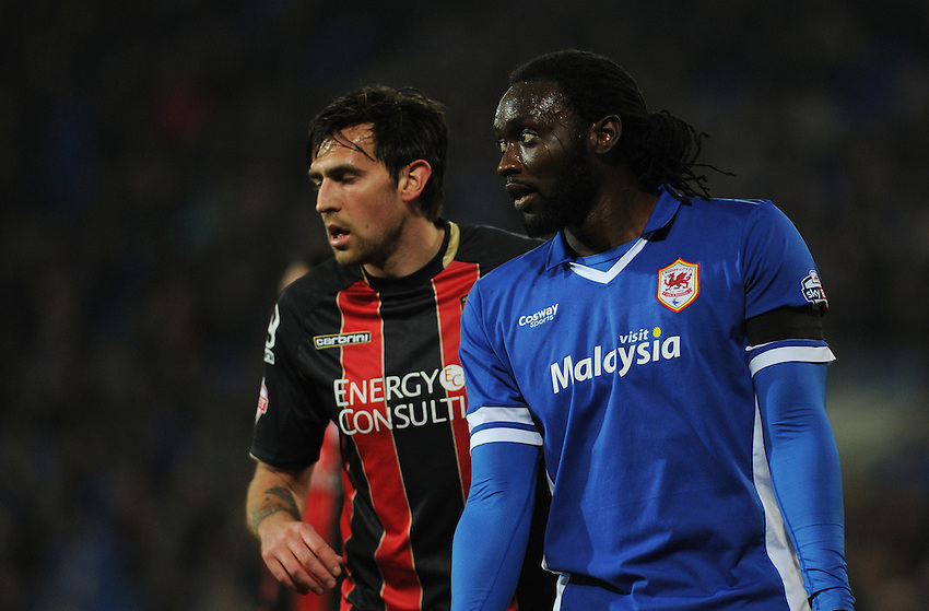 Cardiff City's Kenwyne Jones waits for a corner<br /> <br /> Photographer Kevin Barnes/CameraSport<br /> <br /> Football - The Football League Sky Bet Championship - Cardiff v Bournemouth - Tuesday 17th March 2015 - Cardiff City Stadium - Cardiff<br /> <br /> &copy; CameraSport - 43 Linden Ave. Countesthorpe. Leicester. England. LE8 5PG - Tel: +44 (0) 116 277 4147 - admin@camerasport.com - www.camerasport.com