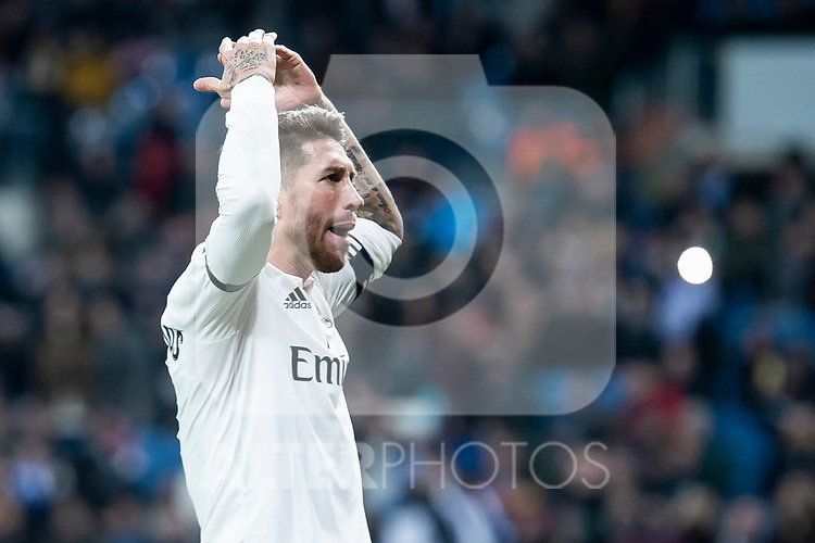 Sergio Ramos of Real Madrid celebrating a goal during King's Cup 2018-2019 match between Real Madrid and CD Leganes at Santiago Bernabeu Stadium in Madrid, Spain. January 09, 2019. (ALTERPHOTOS/Borja B.Hojas)
