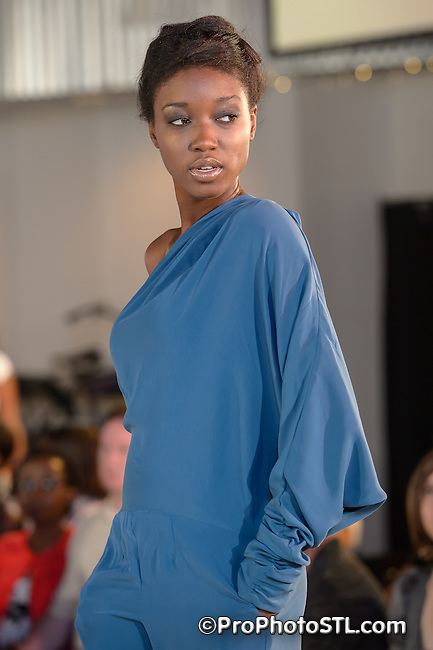 Missouri Fashion Week show presented by Grand Center at MOTO Museum in St. Louis, MO on Aug 21, 2013.